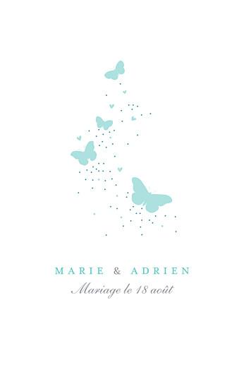 Carton d'invitation mariage Papillons (portrait) blanc et bleu