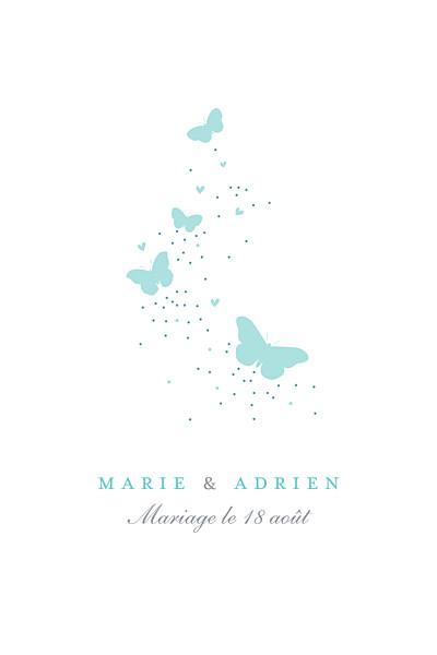 Carton d'invitation mariage Papillons (portrait) blanc et bleu finition