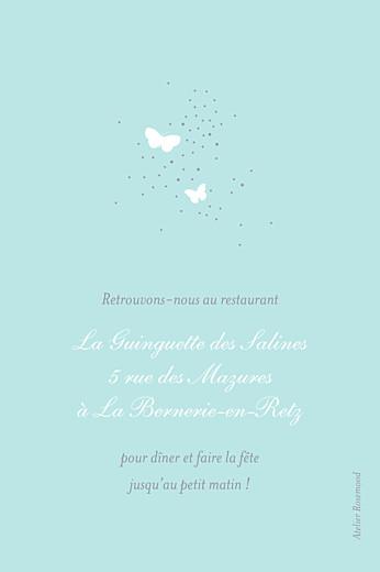 Carton d'invitation mariage Papillons (portrait) blanc et bleu - Page 2