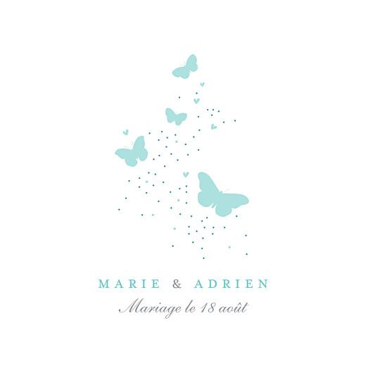Carton d'invitation mariage Papillons carré blanc et bleu