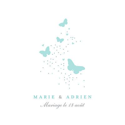 Carton d'invitation mariage Papillons carré blanc et bleu finition