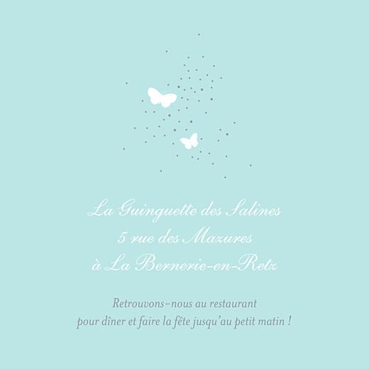 Carton d'invitation mariage Papillons carré blanc et bleu - Page 2