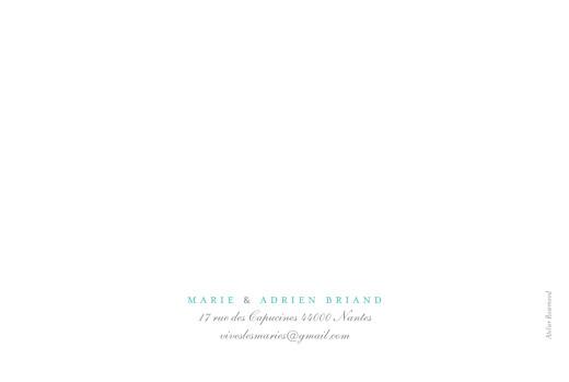 Carte de remerciement mariage Papillons paysage blanc et bleu