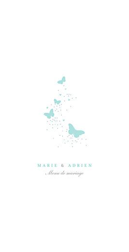 Menu de mariage Papillons bleu & blanc