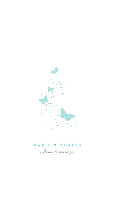 Menu de mariage Papillons bleu & blanc finition