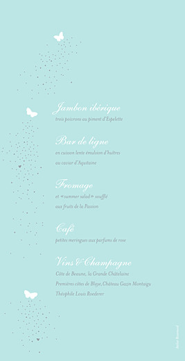 Menu de mariage Papillons bleu & blanc - Page 2