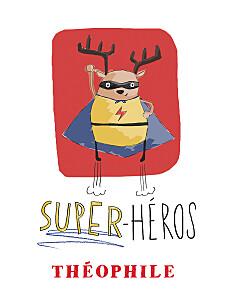 Affichette rouge super-héros rouge