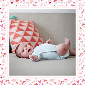 Faire-part de naissance Petit liberty coeur (triptyque) rose