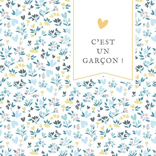 Faire-part de naissance Petit liberty coeur (triptyque) bleu