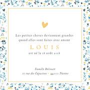 Faire-part de naissance Petit liberty coeur (triptyque) bleu page 2