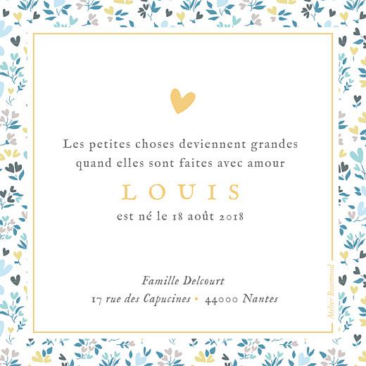 Faire-part de naissance Petit liberty coeur (triptyque) bleu - Page 2