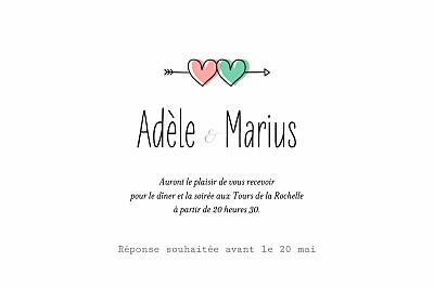 Carton d'invitation mariage Pictos vert et corail finition
