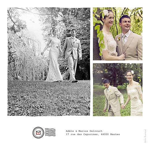 Carte de remerciement mariage Pictos corail et vert