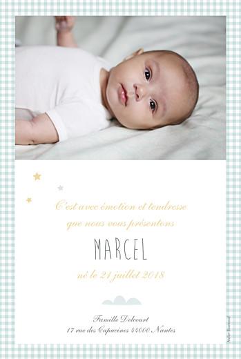 Faire-part de naissance Dans le ciel photo (portrait) bleu