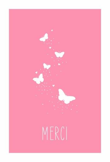 Carte de remerciement Merci papillon 4 photos rose