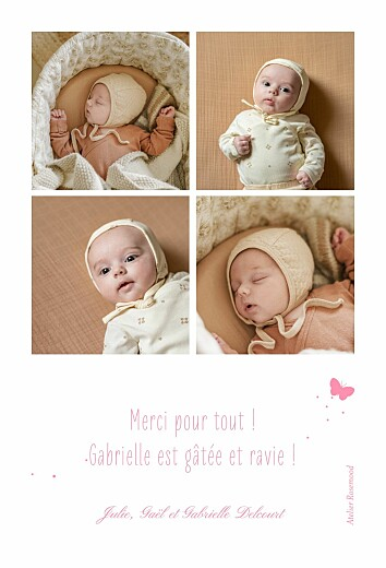 Carte de remerciement Merci papillon 4 photos rose - Page 2