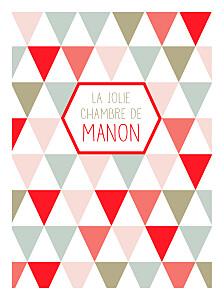 Affichette Triangles rouge & kaki