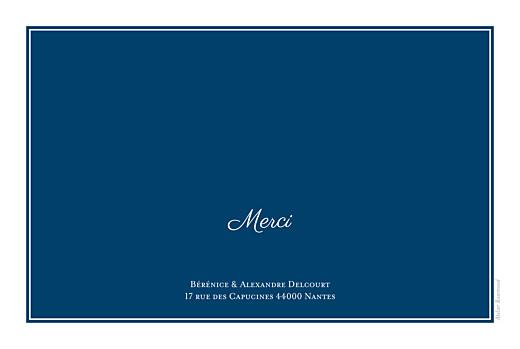 Carte de remerciement mariage Carré chic (paysage) bleu marine