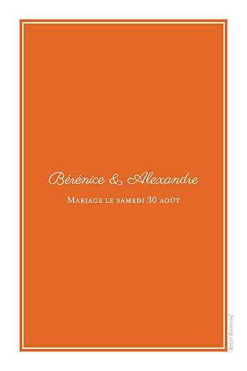 Marque-table mariage Carré chic orange - Page 2