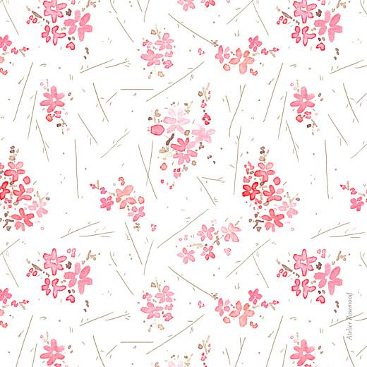 Carte de remerciement Petites fleurs des champs rose - Page 2