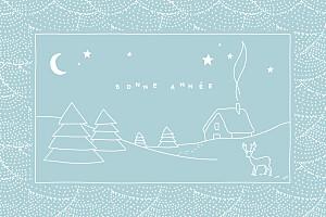 Carte de voeux vintage douce nuit bleu glacier