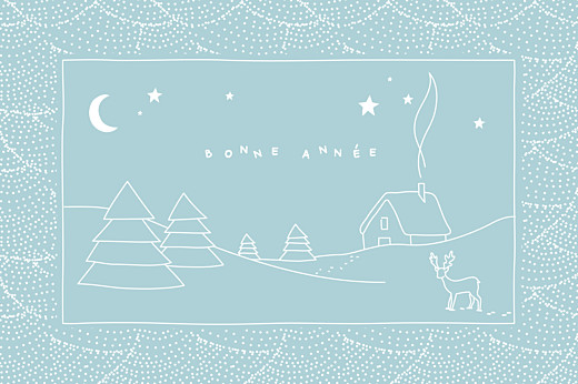Carte de voeux Douce nuit bleu glacier