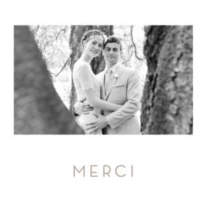 carte de remerciement mariage simple 1 photo blanc - Modele Carte Remerciement Mariage