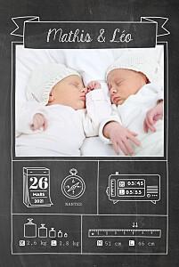 Faire-part de naissance gris pictos ardoise jumeaux noir