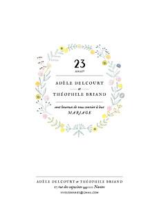 Faire-part de mariage grand instant fleuri blanc
