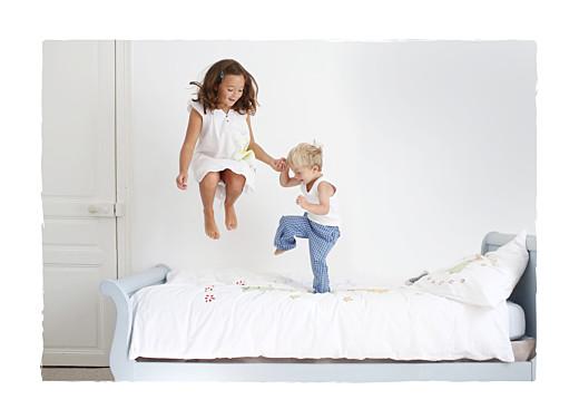 Faire-part de naissance Balade (4 enfants) triptyque blanc