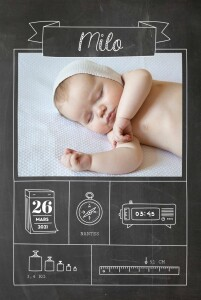Faire-part de naissance Pictos ardoise 4 photos noir