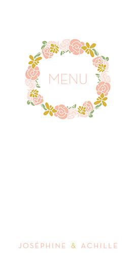 Menu de mariage Les mariés (4 pages) rose