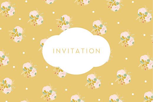 Carton d'invitation mariage Les mariés jaune