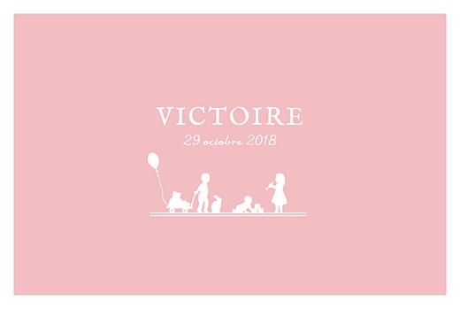 Faire-part de naissance Jeux enfants à 3 (paysage) rose garçon filles