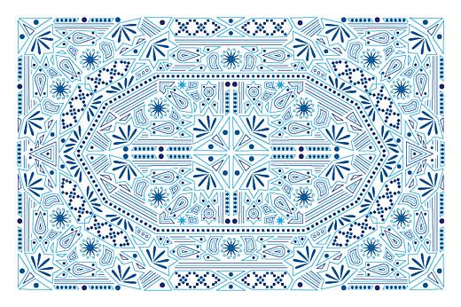 Carte de correspondance Nomade bleu & blanc