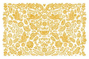 Carte de correspondance orange papel picado jaune