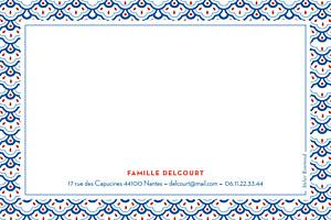 Carte de correspondance moderne pattern fantaisie bleu