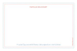 Carte de correspondance Pattern fantaisie bleu & blanc
