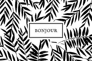 Carte de correspondance Jungle noir & blanc