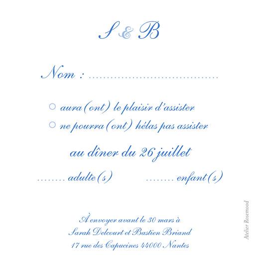 Carton réponse mariage Chic médaillon bleu