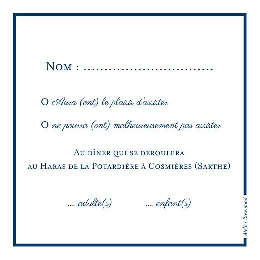 Carton réponse mariage Carré chic bleu marine - Page 2