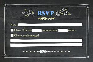 Carton réponse mariage Ardoise fleurs