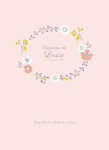 Livret de messe orange couronne de fleurs rose