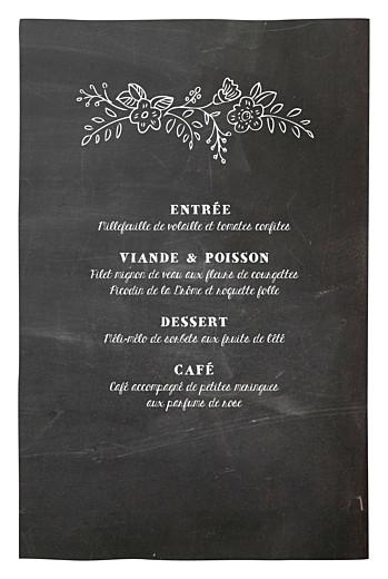 Menu de baptême Ardoise fleurs noir - Page 3