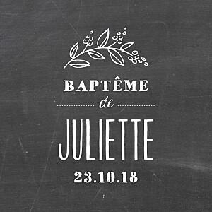 Etiquette de baptême Ardoise fleurs noir