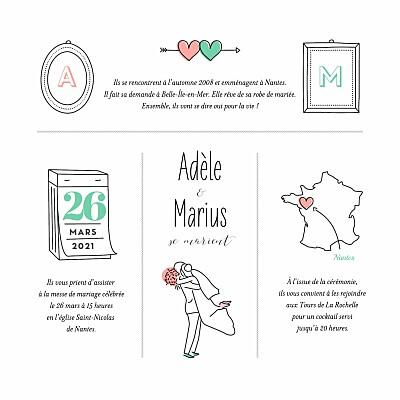 Faire-part de mariage Pictos carré bague finition