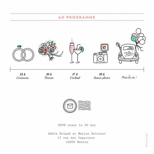 Faire-part de mariage Pictos carré bague - Page 2
