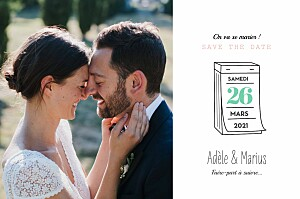 Save the date orange pictos corail et vert