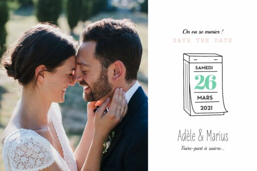 Save the Date Pictos corail et vert