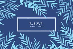 Carton d'invitation mariage Feuillage bleu